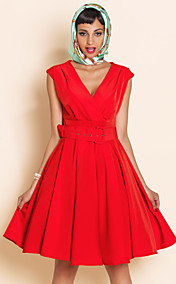 TS VINTAGE Deep V Neck Swing Belt Dress