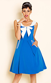 TS VINTAGE Contrast Color Bow Swing Dress
