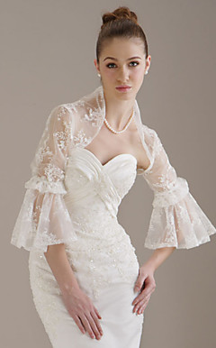 3/ 4-Length SleevesTulle Lace Bridal Jacket/ Wedding Wrap