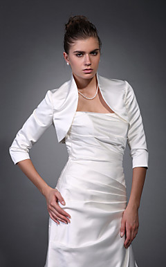 Beautiful 3/ 4-Length Sleeves Satin Bridal Jacket/ Wedding Wrap