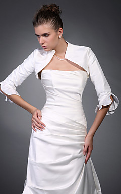 3/ 4-Length Sleeves Taffeta Bridal Jacket/ Wedding Wrap
