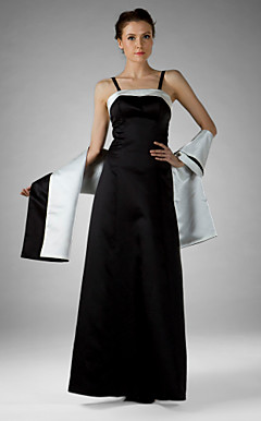 Sheath/Column Spaghetti Straps Floor-length Satin Mother of the Bride Dress With A Wrap