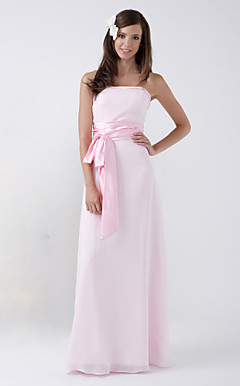 Sheath/Column Strapless Floor-length Chiffon Bridesmaid/Wedding Party Dress