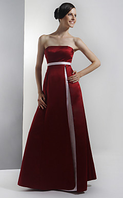 A-line Strapless Empire Floor-length Satin Bridesmaid/ Wedding Party Dress