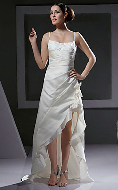 A-line/Princess Strapless Floor-length Satin Wedding Dress