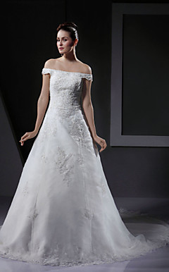 A-line / Princess Off-the-shoulder Wedding Dress With Beaded Appliques