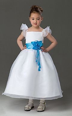 A-line Square Tea-length Organza Over Satin Flower Girl Dress