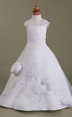 A-line Capped Floor-length Organza Over Satin Flower Girl Dress