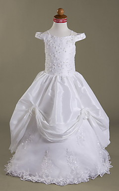 Ball Gown Off-the-shoulder Floor-length Taffeta  Lace Flower Girl Dress