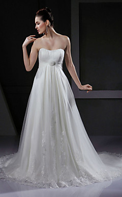 A-line Scoop Tea-length Lace Tulle Wedding Dress