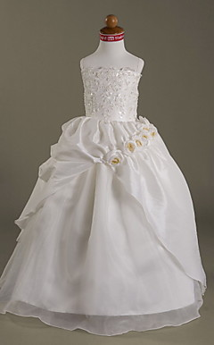Ball Gown Spaghetti Strap Floor-length Taffeta Organza Flower Girl Dress
