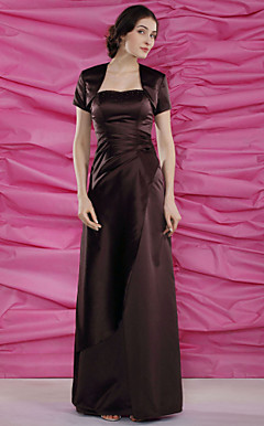 Sheath/Column Sweetheart Floor-length Satin Mother of the Bride Dress With A Wrap
