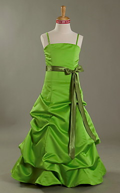 A-line Spaghetti Straps Floor-length Satin Junior Bridesmaid Dress With Pick-Ups Skirt