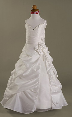 A-line Spaghetti Straps Floor-length Taffeta Organza Flower Girl Dress