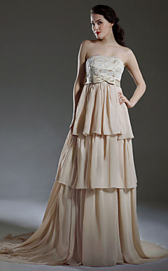 A-line Empire Strapless Court Train Satin Chiffon Tiered Wedding Dress