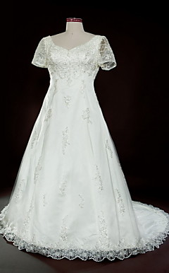 A-line V-neck Court Train Tulle Over Satin Plus Size Wedding Dress