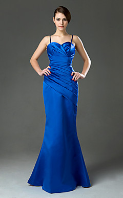 Trumpet/Mermaid Spaghetti Straps Floor-length Satin Bridesmaid/Wedding Party Dress