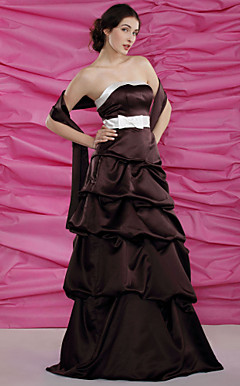 A-line Strapless Empire Floor-length Satin Mother of the Bride Dress With A Wrap