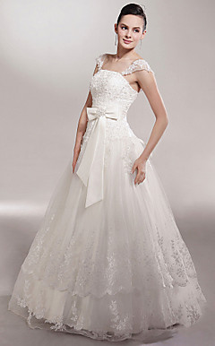 A-line Off-the-shoulder Floor-length Sleeveless Tulle Luxury Wedding Dress