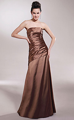 A-line Strapless Floor-length Stretch Satin Bridesmaid/ Wedding Party Dress