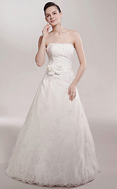 A-line Strapless Court Train Sleeveless Satin Wedding Dress