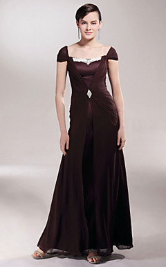 Sheath/Column Square Floor-length Satin And Chiffon Mother of the Bride Dress