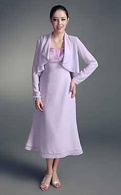 A-line Straps Tea-length Chiffon Stretch Satin Mother of the Bride Dress With A Wrap