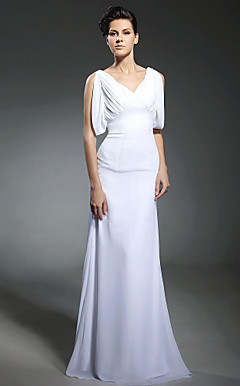 Chiffon Sheath/ Column V-neck Sweep/ Brush Train Wedding Dress inspired by Milla Jovovich