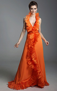Chiffon Organza A-line Halter Floor-length Evening Dress inspired by Samantha Harris at Golden Globe