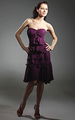 Chiffon A-line Sweetheart Asymmetrical Cocktail Dress inspired by Sarah Jessica Parker in Sex and the City