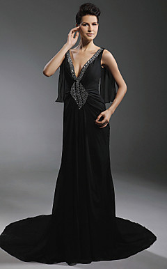 Chiffon Stretch Satin Sheath/ Column V-neck Court Train Evening Dress inspired by Diane Lane at Cannes Film Festival