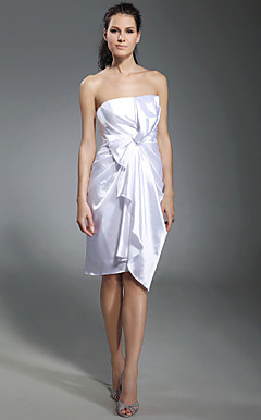 Stretch Satin Sheath/Column Strapless Knee-length Cocktail Dress inspired by Kristen Bell at Golden Globe