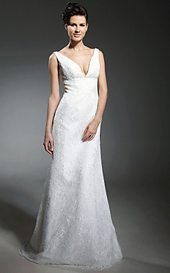 Sheath/ Column V-neck Sweep/ Brush Train Lace Wedding Dress inspired by Katherine Heigl