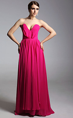 Chiffon Sheath/Column Sweetheart Floor-length Evening Dress inspired by Ginnifer Goodwin at Emmy Award