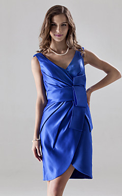 Sheath/Column V-neck Knee-length Satin Bridesmaid/Wedding Party Dress