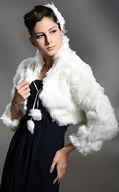 Long Sleeves Faux Fur Special Occasion/ Wedding Jacket/ Wrap