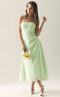 Sheath/ Column Strapless Asymmetrical Chiffon Over Satin Separate Bridesmaid/ Wedding Party Dress