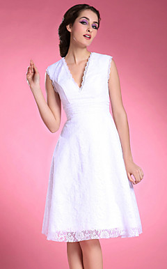 A-line V-neck Knee-length Lace Satin Mother of the Bride Dress