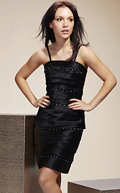 Sheath/ Column Spaghetti Straps Short/ Mini Satin Cocktail/ Homecoming Dress