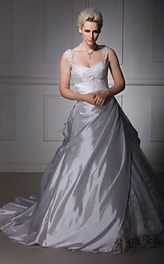 A-line/ Princess Off-the-shoulder Court Train Taffeta Lace Wedding Dress