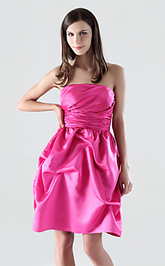 A-line Strapless Short/Mini Satin Bridesmaid/Cocktail Dress