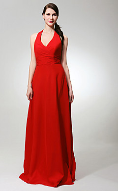 Sheath/ Column Halter Floor-length Chiffon Bridesmaid/ Wedding Party Dress