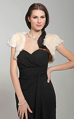Short Sleeves Faux Fur Special Occasion Jacket/ Wrap