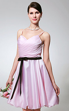 A-line Spaghetti Straps Knee-length Satin Bridesmaid/Cocktail Dress