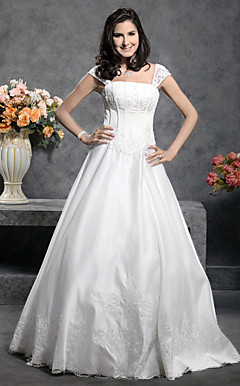 Princess Floor-length Satin Wedding Dress With Beaded Appliques