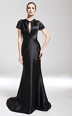 Charmeuse Trumpet/ Mermaid V-neck Sweep/ Brush Train Evening Dress inspired by Iman