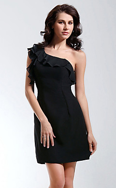 Sheath/Column One Shoulder Short/Mini Chiffon Cocktail/Homecoming Dress