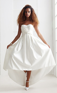 A-line/Princess Sweetheart Asymmetrical Satin Wedding Dress