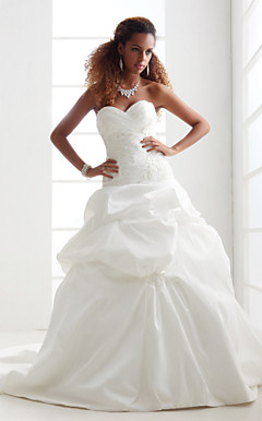 Strapless Sweetheart Taffeta Pick-up Wedding Dresses with Beaded Applique