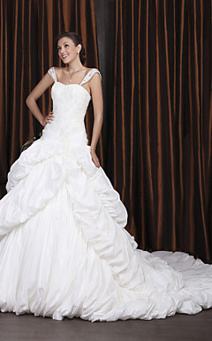 Ball Gown Off-the-shoulder Chapel Train Taffeta Tiered Wedding Dress